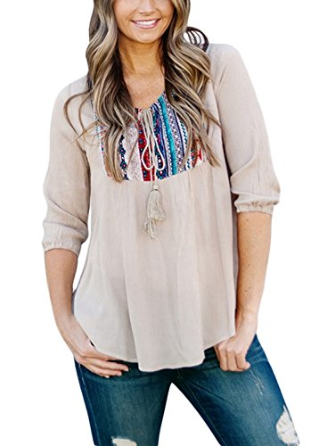 Boho Peasant Top Blouse - LOSRLY Women Floral Embroidered 3 4 Sleeve String Neck Peasant Blouse and Tops-Khaki XXL 18 20