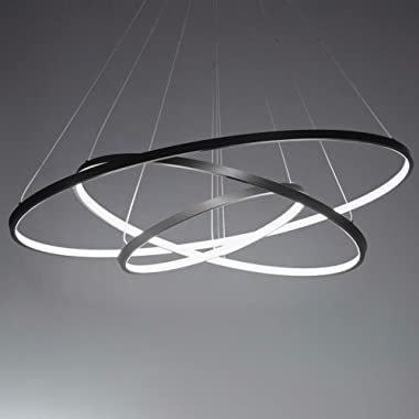 LightInTheBox 90W Pendant Light Modern Design LED Three Rings Chandeliers Black Color, Light Source=Warm White, Voltage=110-120V