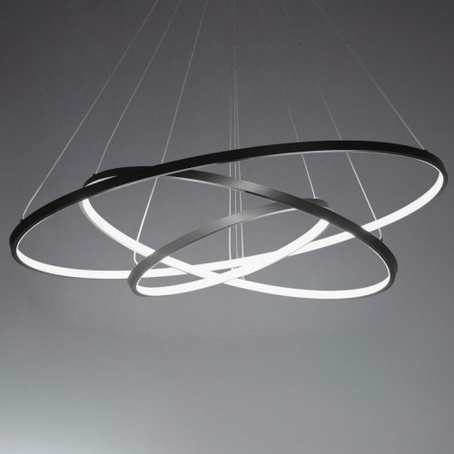 Ring Pendant Light - LightInTheBox 90W Pendant Light Modern Design LED Three Rings Chandeliers Black Color, Light Source=Warm White, Voltage=110-120V