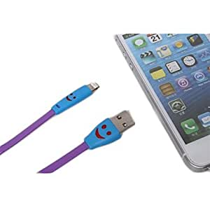get 1M Smiling Flowing Current Charger Lightning Cable with LED for iPhone 5/5s/5c iPad Mini iPad 4 , Rose