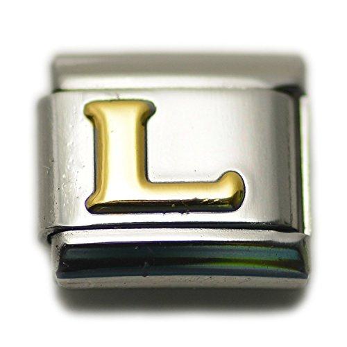 Dolceoro Initial L Letter Alphabet, 9mm Type Italian Modular Charm Bracelet Link - Stainless Steel