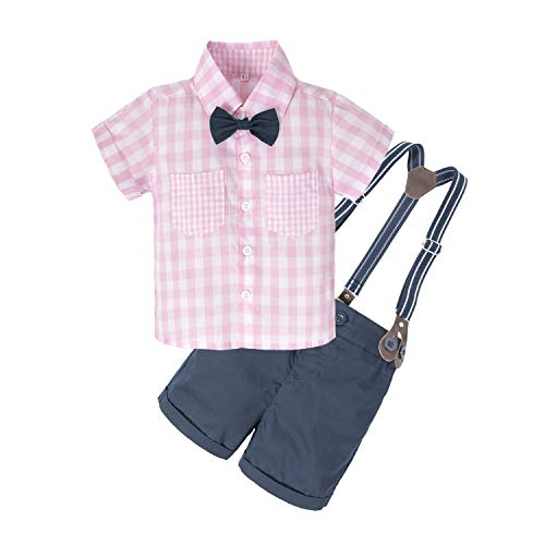 Boys In Pink Dresses - BIG ELEPHANT Baby Boys'2 Piece T-Shirt Suspender Shorts Clothing Set NA42