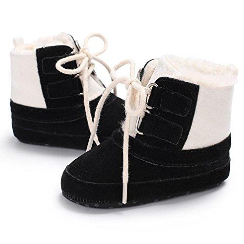Snow Boots Schuhe Jamicy® Baby Mädchen Junge Weiche Solide Baumwollgewebe Lace-Up Booties Schneeschuhe Infant Kleinkind Neugeborenen Erwärmung Schuhe Schwarz