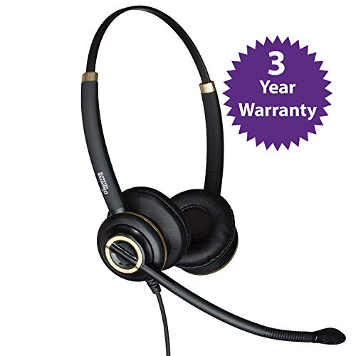 Discover D712 Deluxe Dual Ear Wired Office Headset for Avaya, Polycom, Cisco, Shoretel and Yealink - Cord Included and 3 Year Warranty