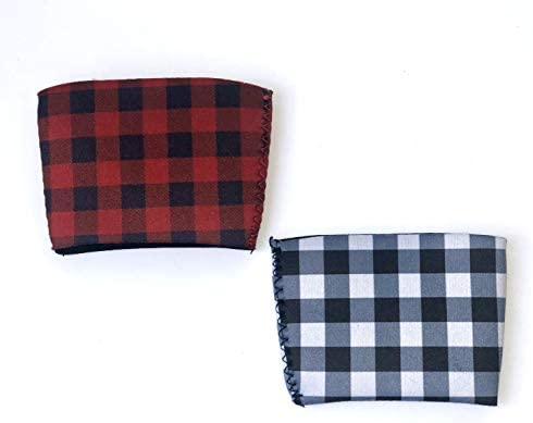 Buffalo Plaid Sip Sleeves- 2 reusable cup sleeves for decent or chilly espresso and different drinks from Starbucks, Dunkin Donuts, McDonalds, and so on. Stocking stuffer, Christmas reward, or reward card holder.
