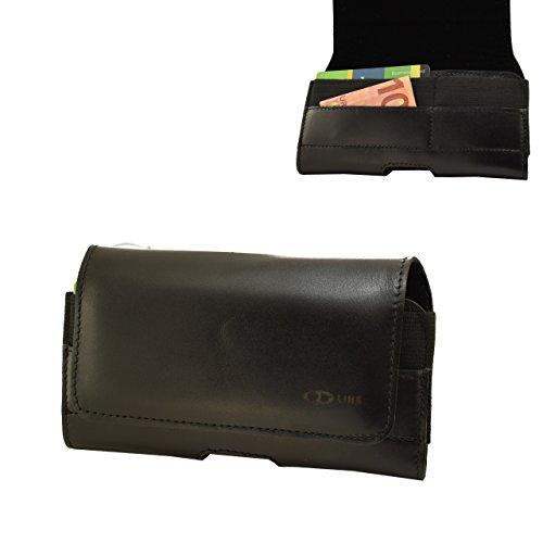 OrLine Holster Echt Leder-Schutzhülle Apple Iphone 5 Lederetui Hülle Handytasche Leder Case Cover mit Magnetverschluss Halterung an Gürtel mit Klammer und Schlaufe in der Farbe schwarz Handarbeit.