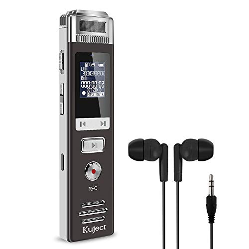 Kuject 16GB Digital Voice Activated Recorder, USB Rechargeable Digital Audio Recorder with MP3 Player, Handheld Portable Sound Recorder with Microphone for Lectures, Meeting, Interviews