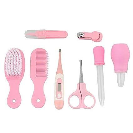 Zerodis Juego de cuidado para bebé/8pcs Tijeras cortaúñas bebé cepillo de pelo peine nariz Pinzas Manicura Care Kit