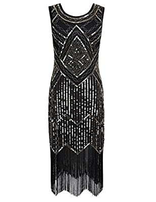 PrettyGuide Women 1920s Gatsby Sequin Beaded Fringed Flapper Cocktail Dress