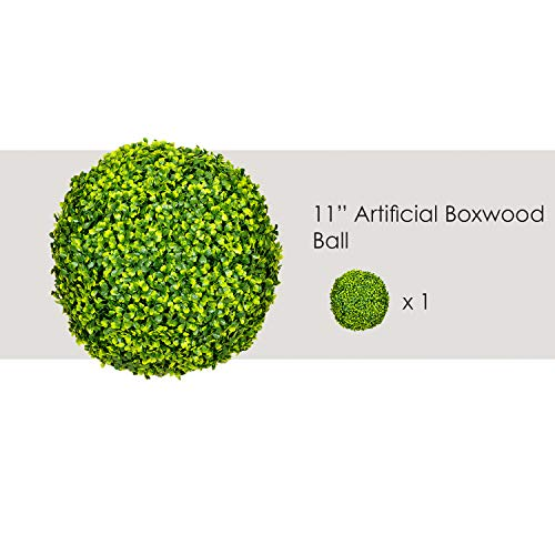 (Ecoopts 11 Inch Artificial Boxwood Topiary Ball Lifelike Plants Decor Cone for Wedding, Home, Front Patio, Planter, Deck, Garden, Backyard Décor, Multiple Size1 Pack)