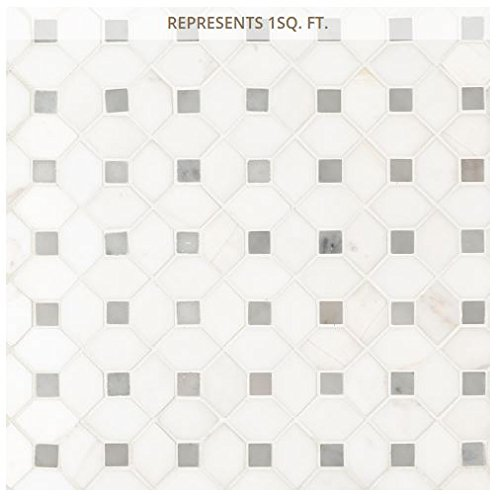 Bianco Dolomite Dotty 12.31 in. x 12.36 in. Polished Marble Mesh-Mounted Mosaic Tile ()