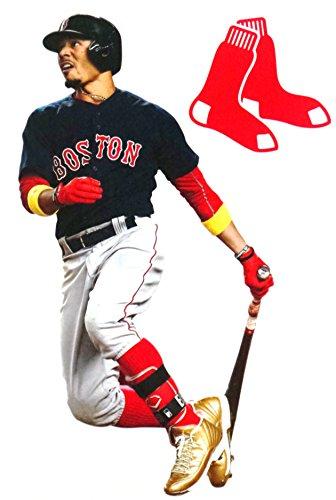 FATHEAD Mookie Betts Mini Graphic + Boston Red Sox Logo Bonus Graphic Official MLB Vinyl Wall Graphics 7