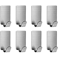 Adhesive Hooks, Kuying Stainless Steel Hanging Heavy Duty Hooks, Waterproof and Oilproof Wall Hooks for Kitchen Bathroom…