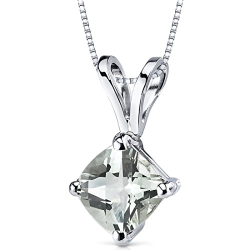 14 Kt White Gold Cushion Cut 0.75 Carats Green Amethyst Pendant
