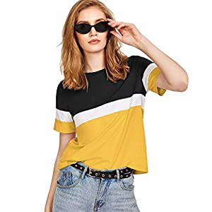 FreshTrend White Yellow Black Cotton Round Neck Tshirt for Women (White Yellow Black)