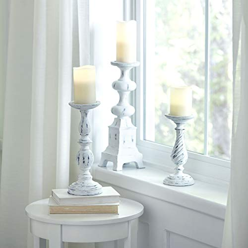 BrylaneHome White Washed Candlesticks, Set of 3 - White Washed ()