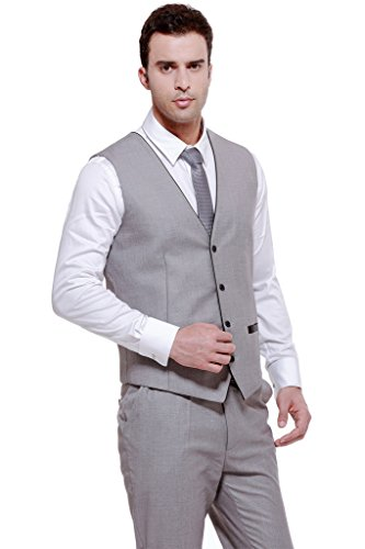 CMDC Men's 4 Button Wedding Best Man Suit Separate Vest & Trousers U1?Grey,36 Short?