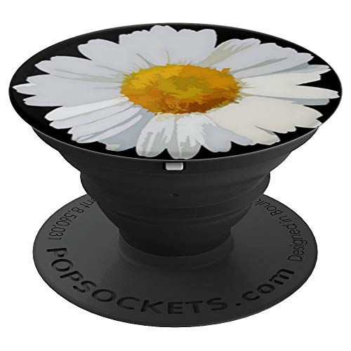 White Daisy Cell Phone Finger Holder Pop Up Socket Black - PopSockets Grip and Stand for Phones and Tablets (Flower Petal Design Knob)