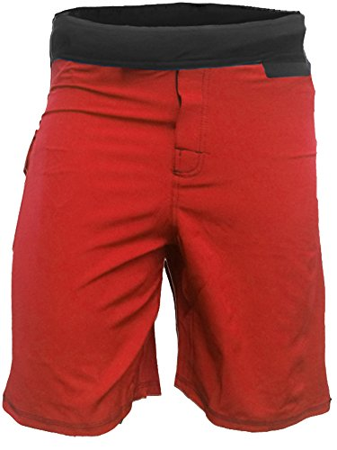 Epic MMA Gear WOD Shorts For Men Agility 4.0 - No Velcro Closure (34, Red) (Closure Four)