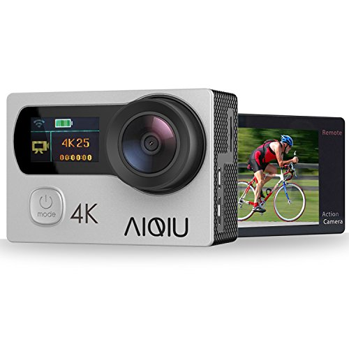 Action Camera 4K, AIQIU 12MP WiFi Waterproof Underwater Video Camera Dual Screen 170° Wide Angle Sports DV Cam with Remote Control, 2 Rechargeable 1350mAh Batteries and 22 Mounting Accessories(Silver)