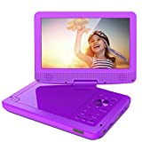 ieGeek 12.5'' Portable DVD Player with 5 Hour Rechargeable Battery, 10.5 inch HD Swivel Screen, Support One-Key Mute Playing, Loop Playing, Memory Playing, Region Free, Purple