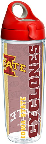 - Tervis 1220510 Iowa State Cyclones College Pride Tumbler with Wrap and Red with Gray Lid 24oz Water Bottle, Clear