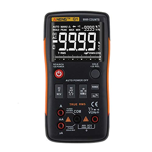 - Sonmer ANENG Q1 True-RMS Digital Multimeter, Button 9999 Counts AC/DC Voltage Ammeter Current with Analog Bar