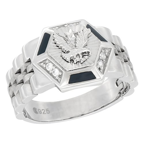 - Mens Sterling Silver Hexagonal Eagle Ring Cubic Zirconia Stones & Black Onyx Accents 9/16 inch wide, size 13