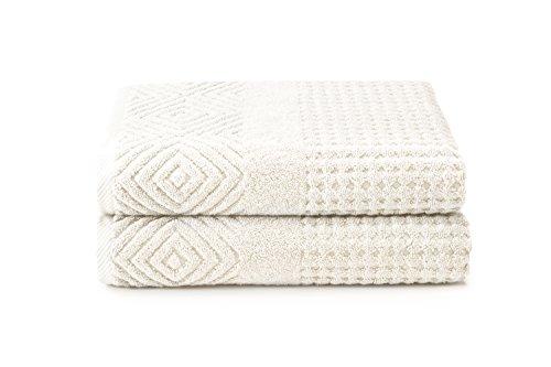 Organic Cotton Bath Towels - Luxury 2 Pack Jacquard Towel Se
