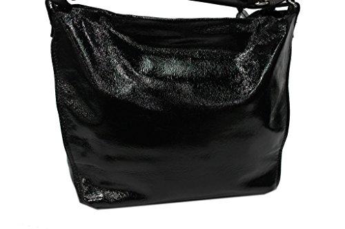 Borsa donna linea vernice modello sacca a spalla Lookat y1334 nero