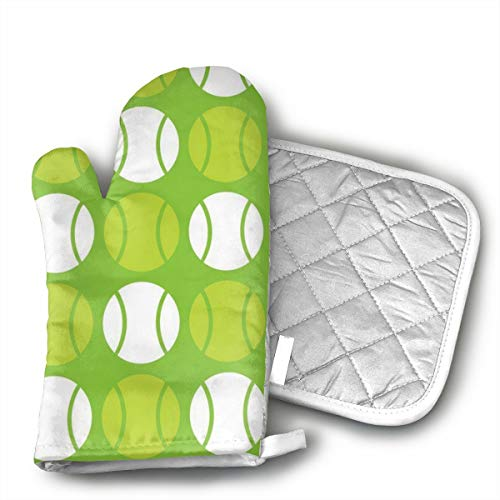 (BenteLi Green Tennis Balls Oven Mitts,Heat Resistant Microwave Oven Insulation Thickening Gloves Soft Inner Lining Kitchen Cooking Mittens)