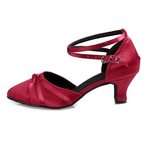 Calzado Tango Oscuro Zapatillas Baile Latinos Mujeres amp;niña Performance Salón De Ykxlm Zapatos Es516 Salsa modelo Danza Rojo PzAYaq