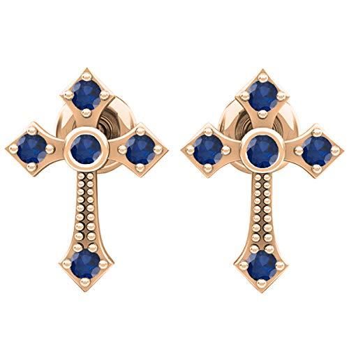 - 18K Round Blue Sapphire Ladies Cross Drop Earrings, Rose Gold