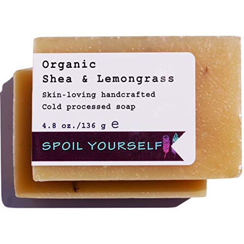 (All Natural Vegan Soap Bars Handmade w/Organic Shea Butter & Sweet Lemon. Ideal for Dry Itchy Skin, Acne. 4.8 oz (Organic Shea & Lemongrass, 1 Bar))