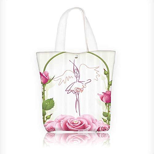 Ladies canvas tote bag oratis BallDancer Gifts for Ballerinas Dance of iry Wings Theme Gazebo Roses Flower reusable shopping bag zipper handbag Print Design W11xH11xD3 INCH -