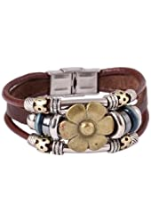 FASHION PLAZA Sunflower Vintage Style Exotic Leather Bracelet -19mm- L30