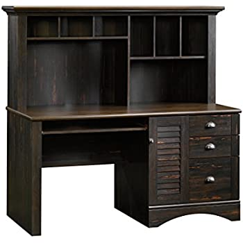 "Sauder 401634 Harbor View Computer Desk with Hutch, L: 62.21"" x W: 23.50"" x H: 57.36"", Antiqued Paint finish"
