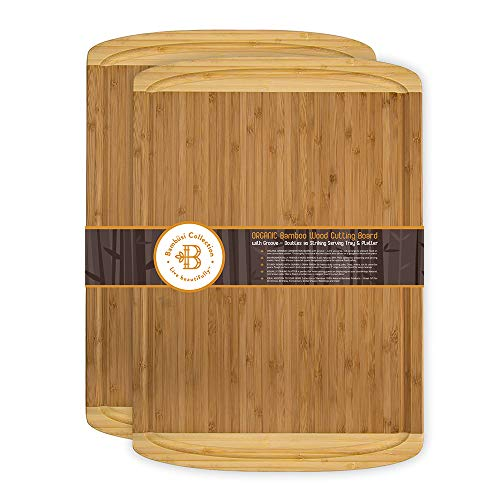 Large Bamboo Cutting Boards with Juice Groove - Set of 2 Wooden Carving Boards for Meat and Chopping Vegetables - Eco-Friendly Kitchen Butcher Block