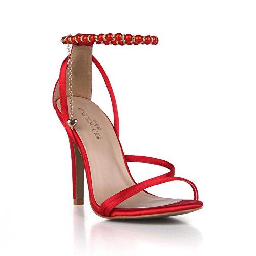 Best 4U® Sandalias de verano de las mujeres Cómodas bombas de Faux Basic Bombas Correas Peep toe 10CM Tacones altos de goma único Pendientes de cadena Zapatos de boda , Red , EU35
