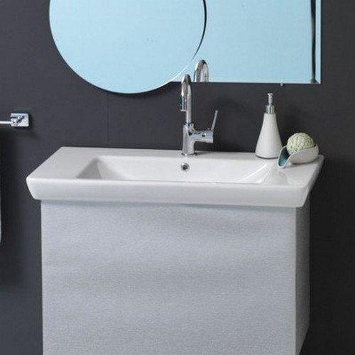 CeraStyle 068300-U-One Hole Porto Rectangular Ceramic Wall Mounted/Self Rimming Sink, - 34 Bathroom Console Sink Inch