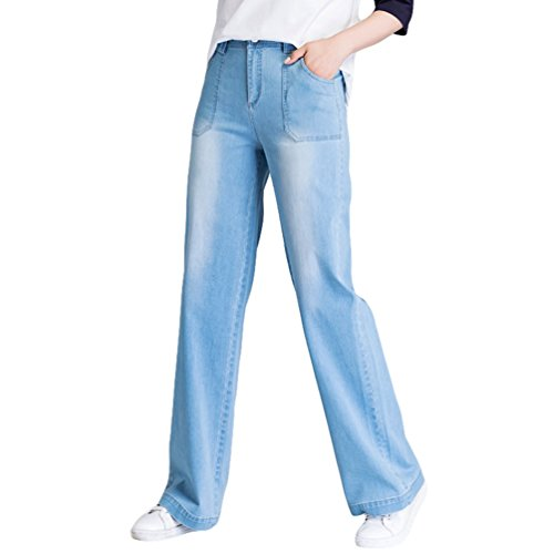 Xinwcanga Mujer Pantalones Vaqueros Flojos Tallas Grandes Rectos Mezclilla de Pierna Ancha Luz Azul