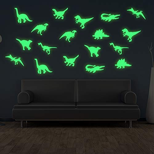 36Pcs/Set 3D Creative PVC Luminous Dinosaurs Wall Stickers, Glow in The Dark Dinosaurs Wall Decals Fluorescence Decorative for Baby Children Room, Nursery Removable Wall Stickers Murals