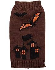 Amosfun Ropa para Perros de Halloween Mascotas Batas de impresión Suéteres Disfraz de Halloween para Perros