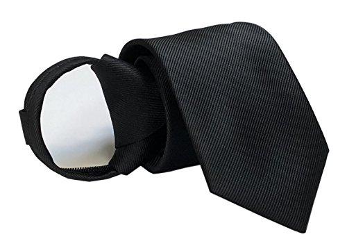 (Mens Big Boys Black Skinny Zip up Ties Working Neckties for Adults)
