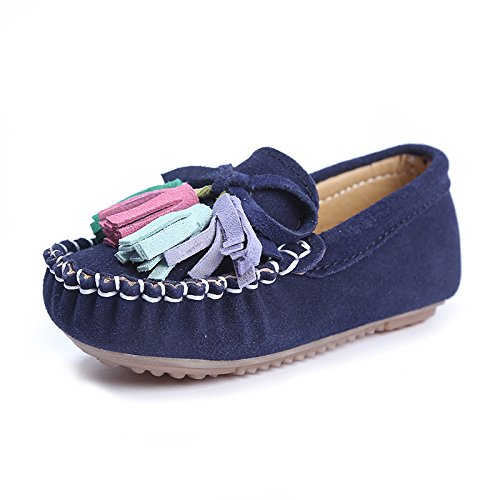 KEESKY Leather Flat Shoes for Toddler Girls Size 8.5 Navy Blue Flower Girl -