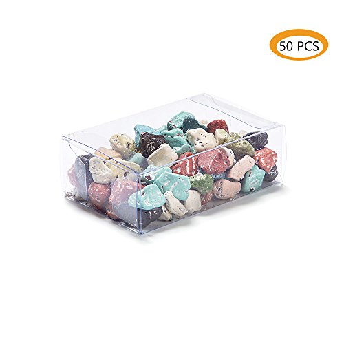 ZOOYOO Clear Plastic Box for Weddings/Party Favors/Packaging Treat Cupcake Transparent Packing Box (3.5x2.4x1.2 inch)