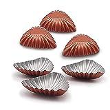 TOTOONE Non-stick Carbon Steel 3 Inch Shell Molds Mini Tart Pans, Quiche Pan, Mini Pie, Cake Mold Mini Tartlet Set 6pcs BM1111
