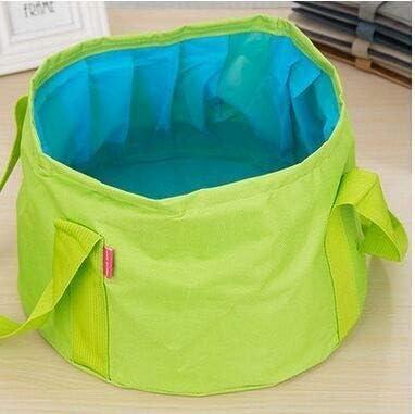 Fssh-mlx ポータブルアウトドア旅行折り畳み式の折りたたみキャンプ洗面盆地バケツボウルシンク洗濯バッグ水バケツ15L (色 : 緑)