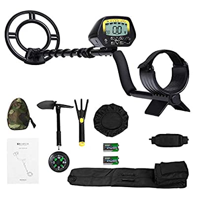 MARNUR Metal Detector Kit LCD Display Metal Finder Treasures Seeking Tool with Battery Shovel Scoop for Easy Travel Kids and Adults