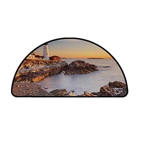 United States Comfortable Semicircle Mat,Cape Elizabeth Maine River Portland Lighthouse Sunrise USA Coast Scenery for Living Room,13.7